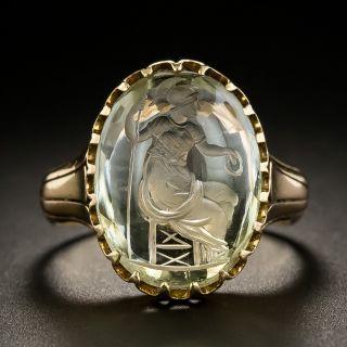 Victorian Rock Crystal Quartz Intaglio Ring - 1