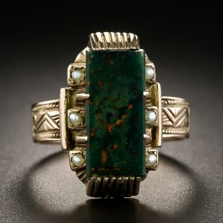 Victorian Bloodstone and Seed Pearl Ring - 1