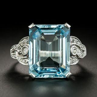 Art Deco Aquamarine and Diamond Ring - 1