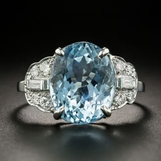 Art Deco 7.25 Carat Oval Aquamarine and Diamond Ring - 1