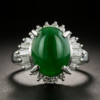 Burmese Jade and Baguette Diamond Ring - 1