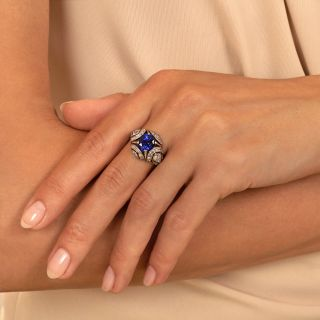 French Art Deco 3.00 Carat Sapphire and Diamond Ring