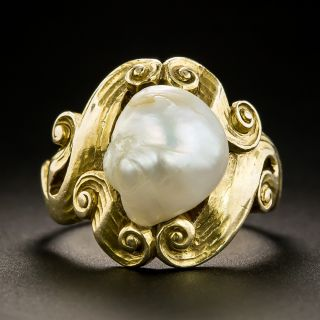 Art Nouveau Freshwater Pearl Ring - 1