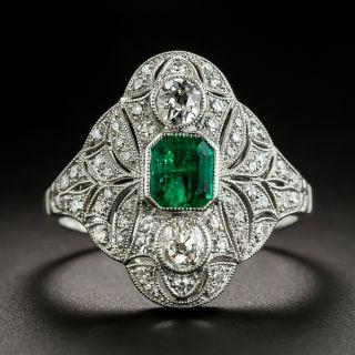 Art Deco Style .41 Carat Emerald and Diamond Ring - 2
