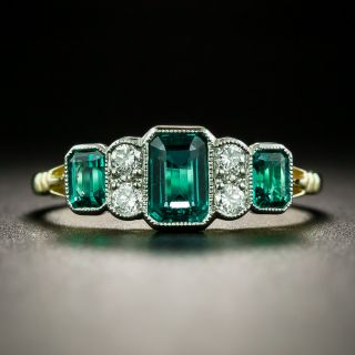 Art Deco Style Emerald and Diamond Ring - 8
