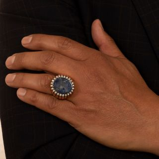 32.65 Carat Intaglio Sapphire Ring