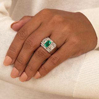 2.38 Carat Emerald and Diamond Art Deco Ring