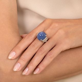 23 Carat Star Sapphire, Platinum and Diamond Art Deco Ring