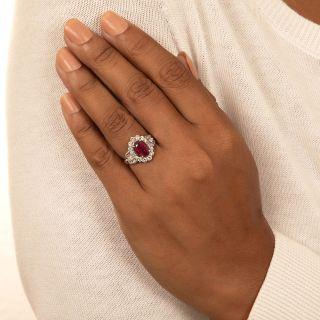 Estate 3.00 Carat Burmese Ruby and Diamond Ring - GIA