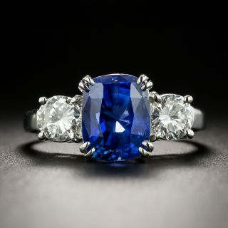 3.75 Carat No-Heat Ceylon Sapphire and Diamond Ring - GIA - 1