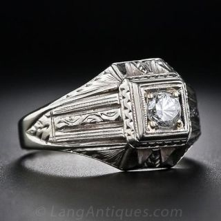.30 Carat Diamond Art Deco Unisex Ring