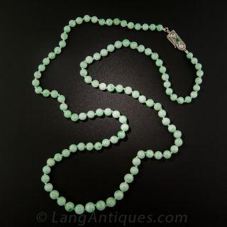 """32"""" Natural Burmese Jade Bead Necklace"""