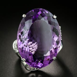 33.35 Carat Amethyst and Diamond Cocktail Ring - 1