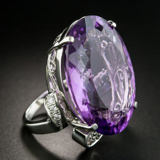 33.35 Carat Amethyst and Diamond Cocktail Ring