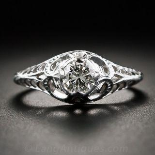 .35 Carat Diamond Art Nouveau Style Engagement Ring - 1