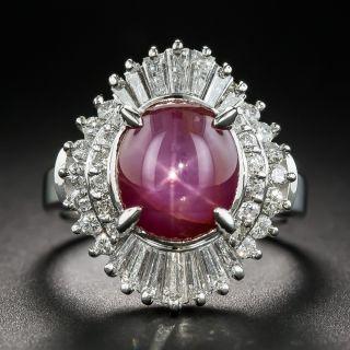 4.02 Carat Star Ruby and Diamond Ring - 1