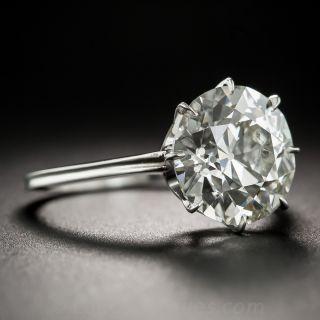 4.07 Carat European-Cut Diamond and Platinum Ring - GIA K SI2