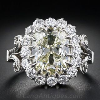 4.14 Carat Antique Cushion Diamond Ring