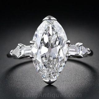 4.14 Carat 'Moval' Art Deco Diamond Ring - GIA G-VVS2