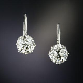 2.09 & 2.11 Carats European-Cut Diamond Earrings - GIA - 1
