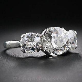 4.35 Carat Total Weight Vintage Diamond Three-Stone Ring