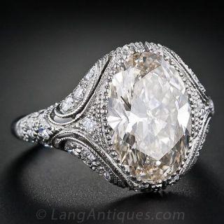4.44 Carat Oval Diamond Vintage Style Engagement Ring