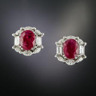 4.45 Carat Burmese Ruby and Diamond Earrings - GIA - 2
