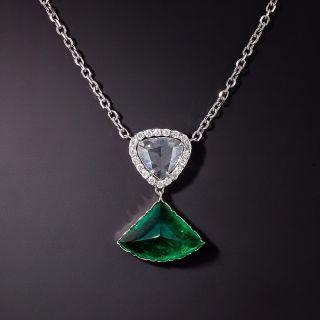 4.46 Carat Cabochon Emerald and Rose-Cut Diamond Necklace - GIA  - 0