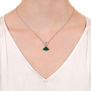 4.46 Carat Cabochon Emerald and Rose-Cut Diamond Necklace - GIA