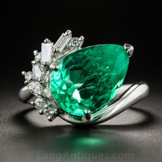 4.48 Carat Pear Shaped Colombian Emerald Platinum and Diamond Ring