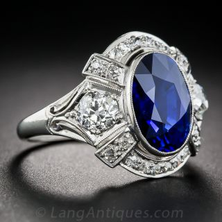 4.49 Carat Sapphire, Diamond and Platinum Art Deco Ring