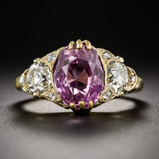 4.50 Carat Natural Pink Sapphire and Diamond Vintage Style Ring - 3