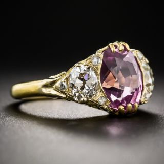 4.50 Carat Natural Pink Sapphire and Diamond Vintage Style Ring
