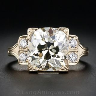 4.56 Carat Antique Cushion Cut Diamond Ring