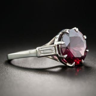 4.57 Carat Rhodolite Garnet Platinum and Diamond Ring