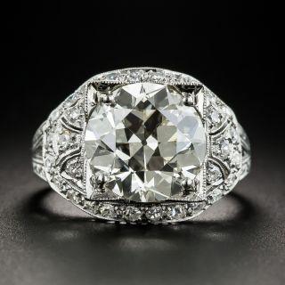 4.58 Carat Art Deco Diamond Platinum Engagement Ring - GIA - 2