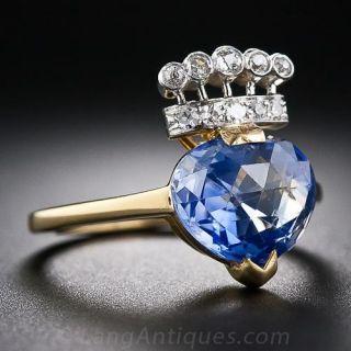 4.60 Carat Kashmir Sapphire and Diamond Ring