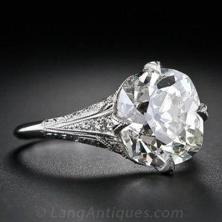4.63 Carat Antique Cushion Diamond Ring