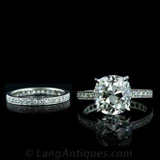 4.67 Carat Antique Cushion Cut Diamond Wedding Set