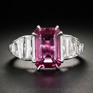 4.74 Carat Pink Sapphire and Baguette Diamond Ring - 1