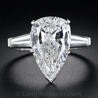 4.89 Carat Pear-Shaped Diamond Solitaire Ring