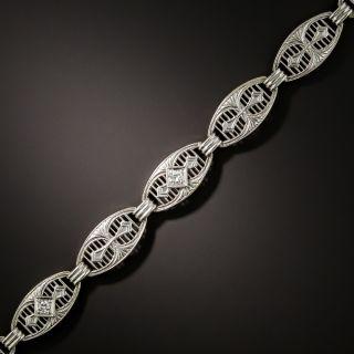 Art Deco Filigree Link Diamond  Bracelet - 1