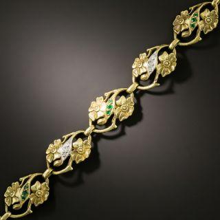 Art Nouveau Emerald and Diamond Bracelet - 1