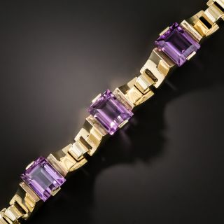 Retro Amethyst Link Bracelet - 2