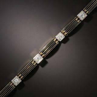Art Deco Diamond and Black Enamel Link Bracelet - 1