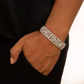 Fine Art Deco Lozenge-Cut Diamond And Sapphire Bracelet