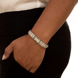 Fine Art Deco Diamond and Calibre Emerald Bracelet