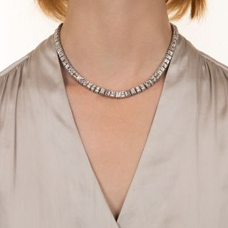 44 Carat Carré-Cut Diamond Riviere Necklace