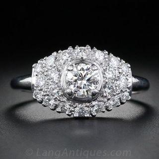.44 Carat Mid-Century Platinum Diamond Ring