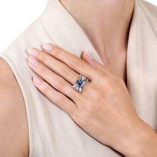 5.00 Carat No-Heat Ceylon Cabochon Sapphire Platinum Diamond Bow Ring